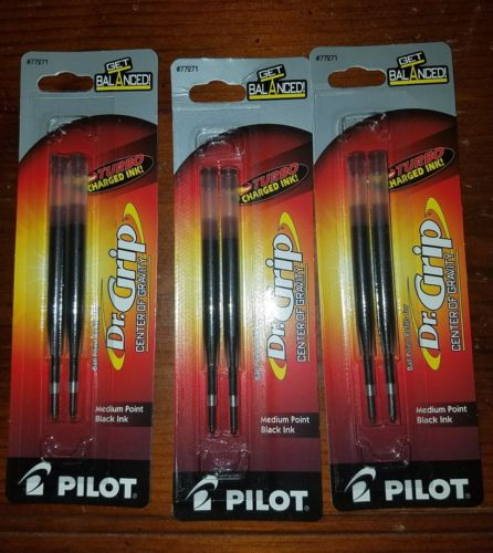 3 QTY Pilot Refill For Dr. Grip Center Of Gravity Pen, Medium, Black Ink, 2/pack