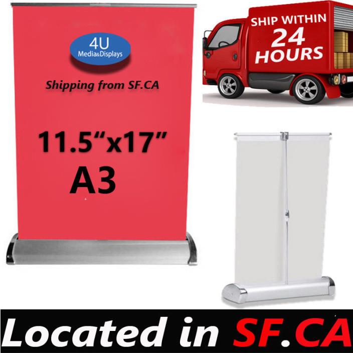 6 pack,11-1/2 x 17 Inches,Mini Table Top Retractable Banner Stand - Stand Only