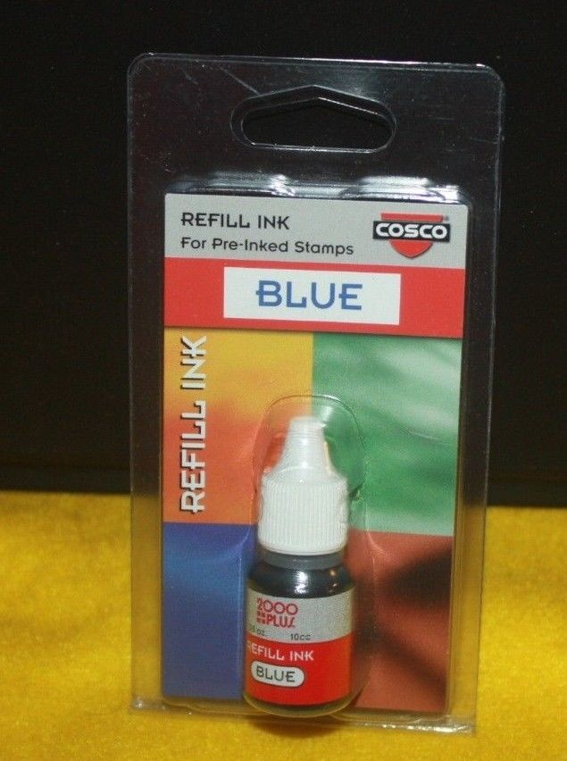 New 6 Bottles Cosco Refill Ink Blue for Pre-inked Stamps 2000 Plus 0.35 oz