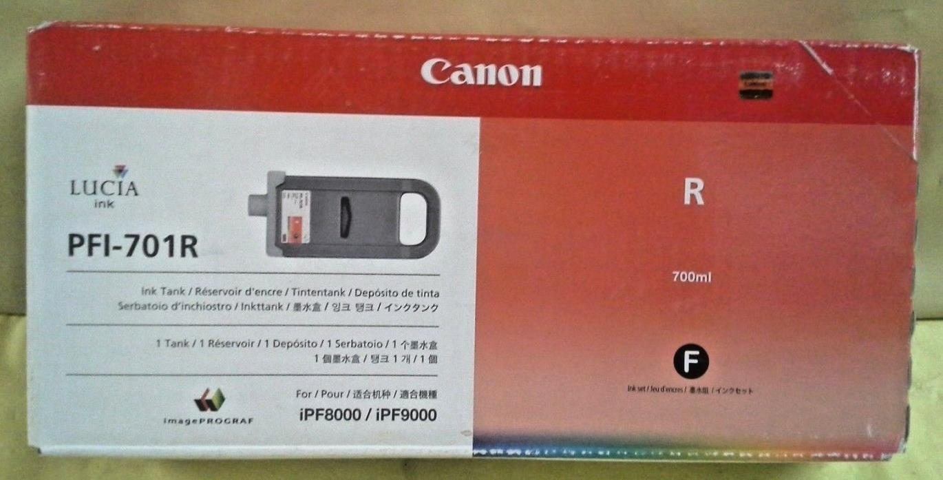 GENUINE CANON PFI-701R RED INK TANK NEW IN FACTORY SEALED BOX iPF8000/iPF9000