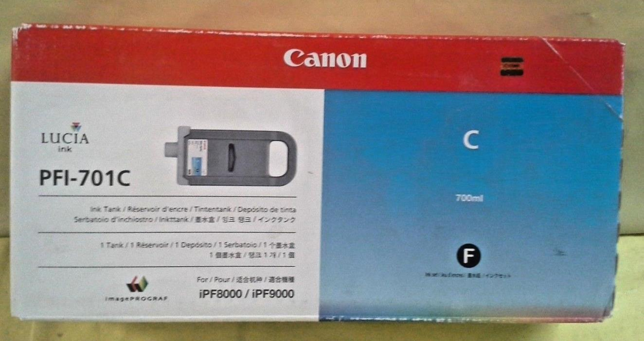 GENUINE CANON PFI-701C CYAN INK TANK NEW IN FACTORY SEALED BOX iPF8000/iPF9000