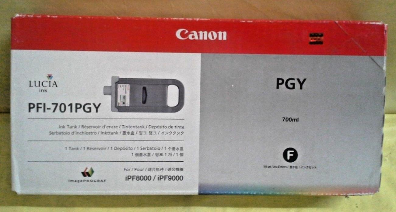 GENUINE CANON PFI-701PGY GRAY PHOTO INK TANK  FACTORY SEALED BOX iPF8000/iPF9000