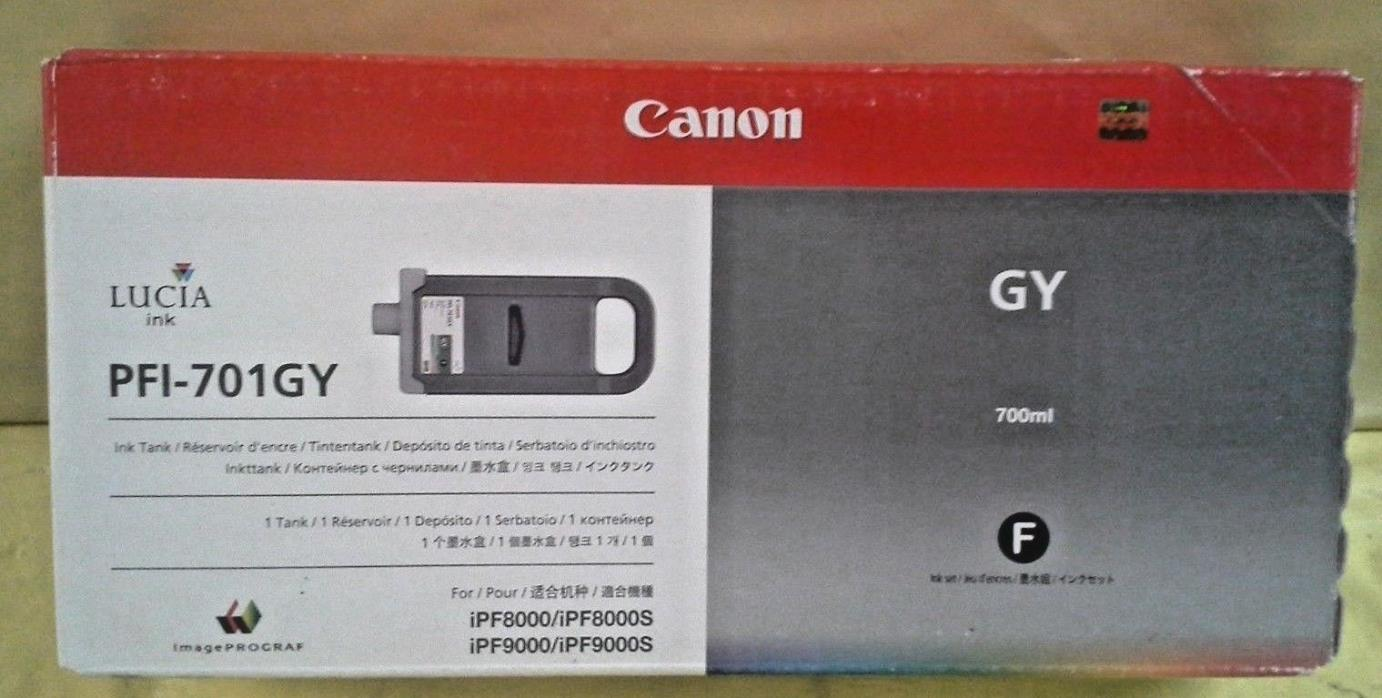 GENUINE CANON PFI-701GY GRAY INK TANK NEW IN FACTORY SEALED BOX iPF8000/iPF9000