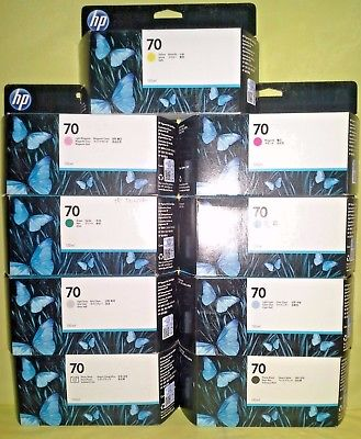NEW GENUINE HP DESIGNJET Z2100 SET 0F 9 HP 70 C9390A-C9457A ALL FACTORY SEALED