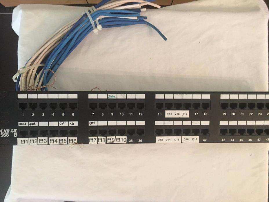48-Port 2U Rackmount Cat5e 110 Patch Panel, 568B, RJ45 Ethernet