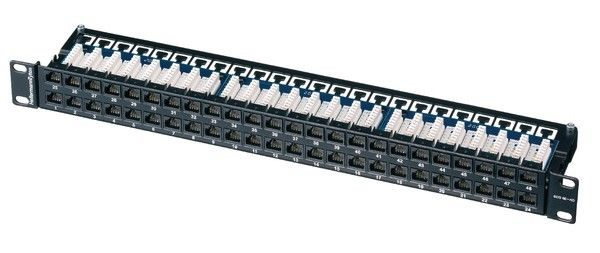 NEW HellermannTyton PP110C5E481U Category 5e 48 Port Patch Panel, 1U, Black
