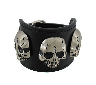 Zeckos Black Leather Triple Chrome Skull Wristband Bracelet Punk