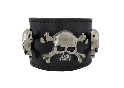 Zeckos Black Leather Triple Skull And Crossbones Wristband Bracelet Punk
