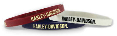 Harley-Davidson Debossed Nostalgic H-D Silicone Wristband, 3 Pack WB28484