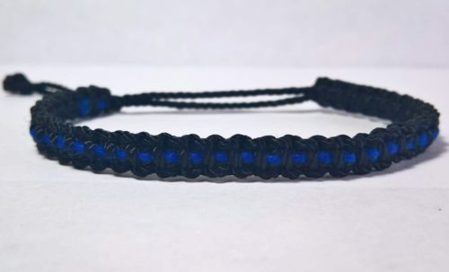 New bracelet with a thin blue line -support police -new -fits man and woman