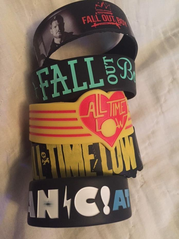 Band Bracelet lot (Fall Out Boy, Panic! At The Disco, All Time Low)