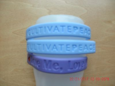 Love me love my dog, cultivate peace silicone rubber bracelets purple blue NWOT