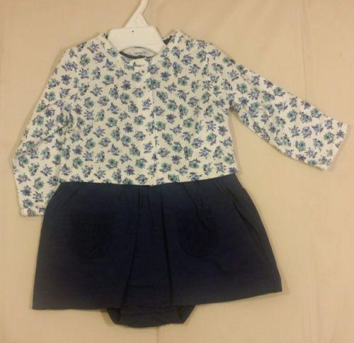 CARTER'S Girl Toddler LL Navy Blue Dress w/ Flower Jacket 12mo. Set NTW