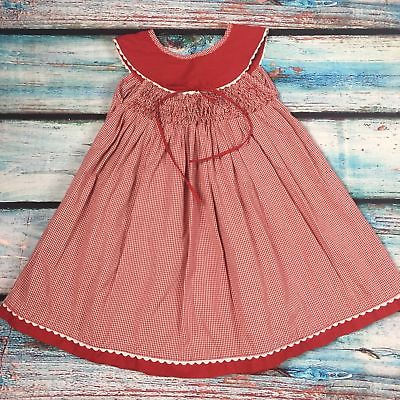 Handmade Red gingham Smocked dress