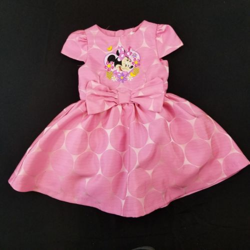 Disney Store Toddler Girls Size 3 Minnie Mouse Pink Polka Dot Flowers Dress