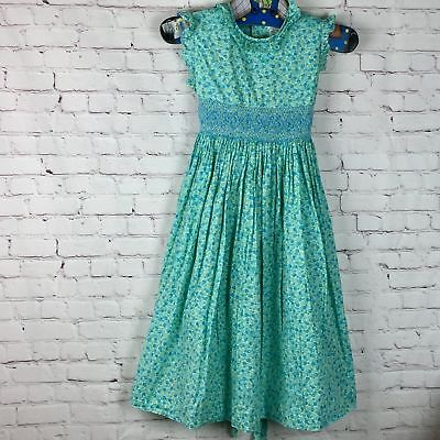 Turquoise Smocked Floral dress