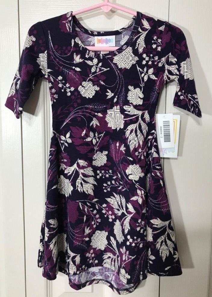 LuLaRoe Adeline Girl's Dress, Size 2, Beautiful Purple, Black & White, NWT