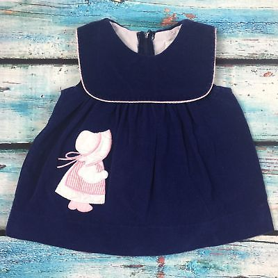 Navy Corduroy little girl appliqué dress