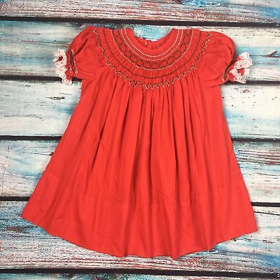 Handmade Red bishop Smocked dress