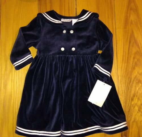 Girl's Sophie Rose Navy Blue Velour Sailor Nautical Dress Size 24 months New