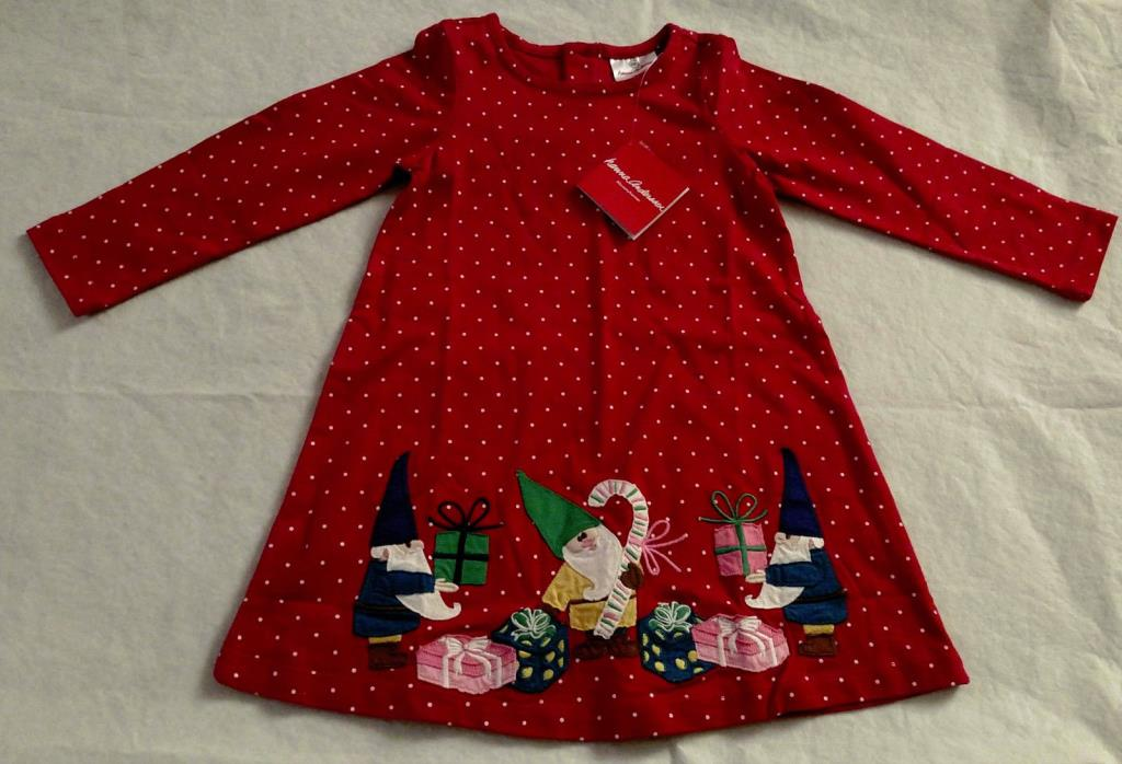 NWT Hanna Andersson Gnome Presents Holiday Christmas Dress 90 3T Toddler Girl