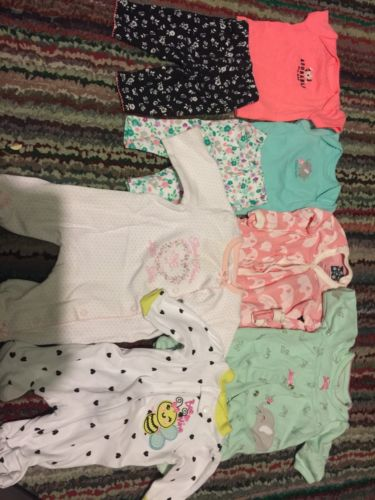 Premie Baby Girl Clothes Lot 4 Pajamas And 2 Outfits