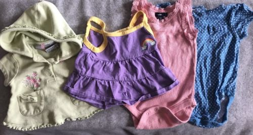 Baby Gap Mixed Lot Girls Summer Pieces Sz 6-12 Mo Shorts Shirts Body Suits
