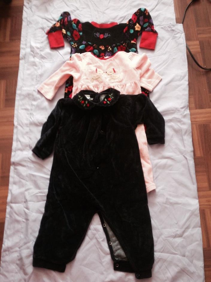 Lot of three velvety pajamas excellent condition size 18M by Gymboree accept one