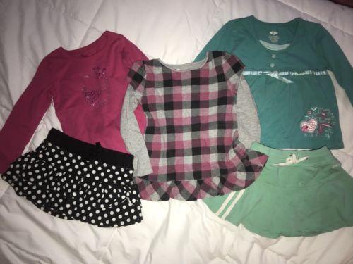 Girls Size 4T Lot Long Sleeve Shirt Skirt Jumping Beans Oshkosh Hello Kitty