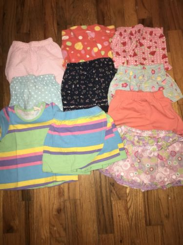 LOT OF 9 shorts 1 Top MIXED BUNDLE OF GIRLS summer  CLOTHES -10 ITEMS - SIZE: 3T