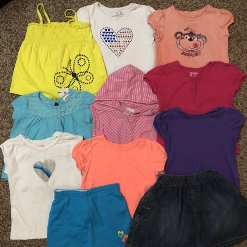 Girls Size 3T Lot Of Summer Play Clothes Tops Shorts Skirt Casual