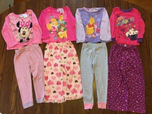 Lot Of 8 Mismatched Girl Pajama Tops And Pants Size 3T
