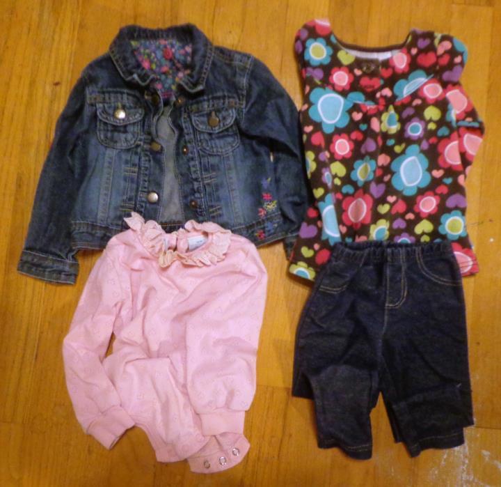 GIRLS 18 MO  CLOTHES, DENIM JACKET, JEGGINGS, 2 TOPS, OSHKOSH, CARTERS
