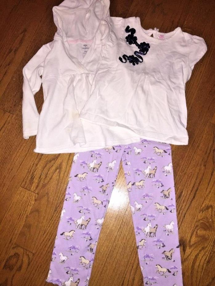 GYMBOREE Horse Leggings + OLD NAVY Hoodie Jacket + OSH KOSH Shirt LOT Girl Sz 3T