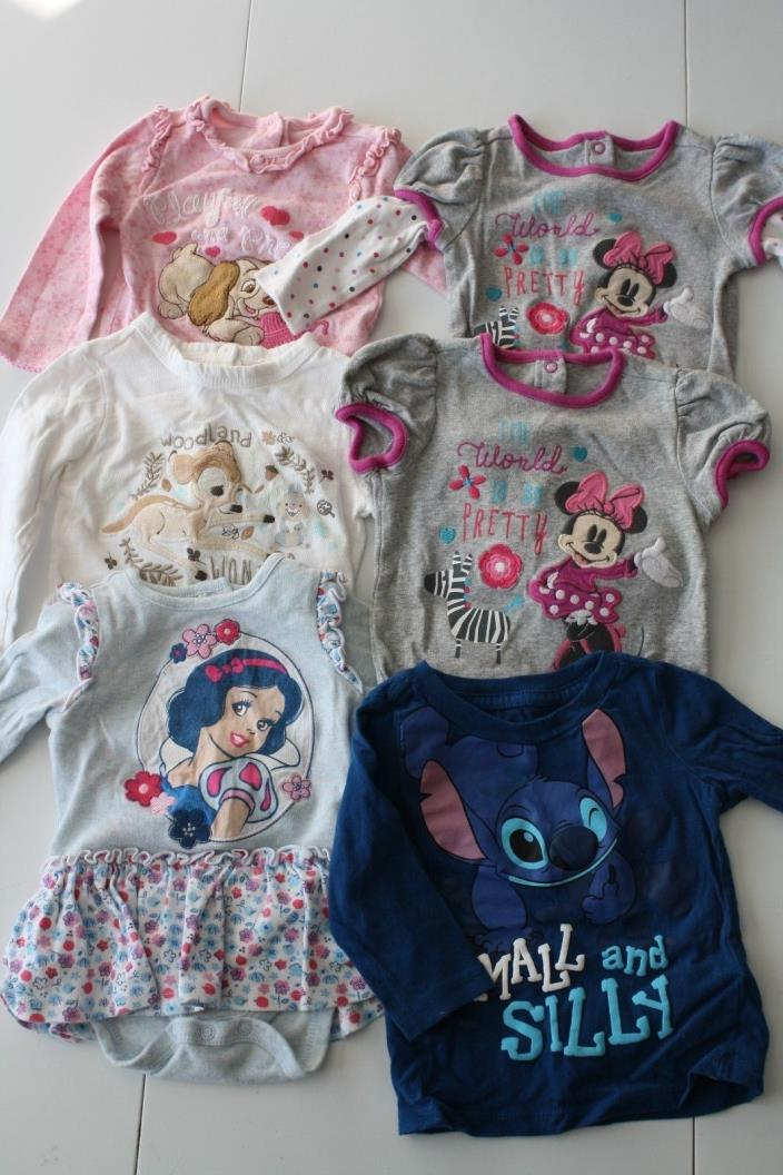 Lot Disney Baby bodysuits 9-12 and 12-18 months