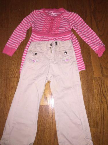OSH KOSH B'GOSH Shirt Blouse Top + CARTER'S Khaki Jeans Pants LOT 2 Girls Sz 3T