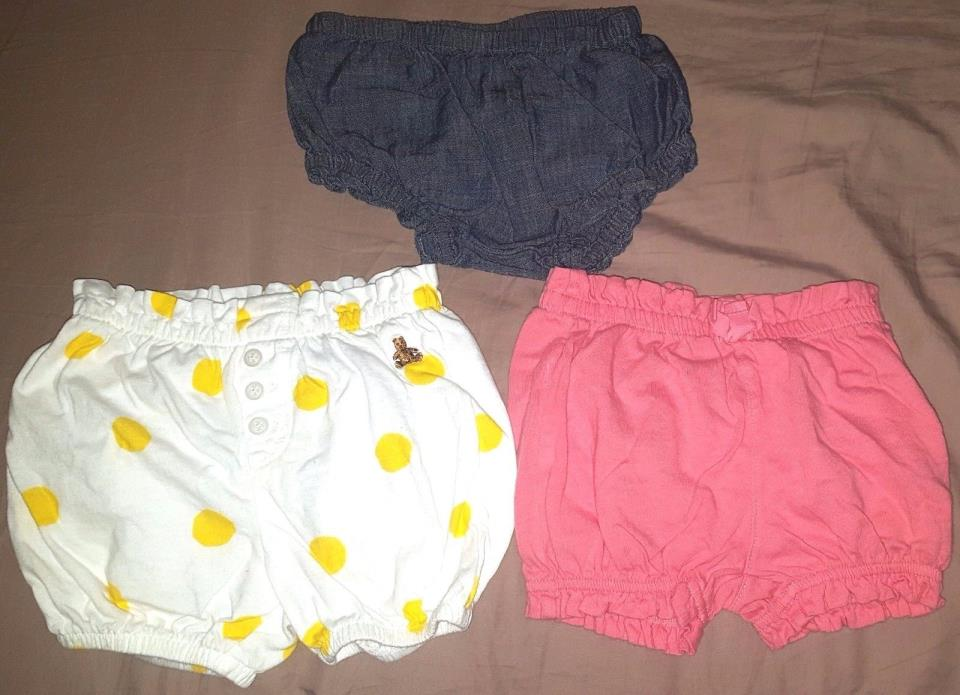 Lot of 3 shorts, infant baby girl, SIZE 6-12 MONTHS babyGap Old Navy 100% cotton