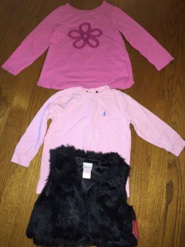 LOT of 3 POLO RALPH LAUREN & CHILDRENS PLACE Shirts Xhilaration Vest Girls Sz 4T