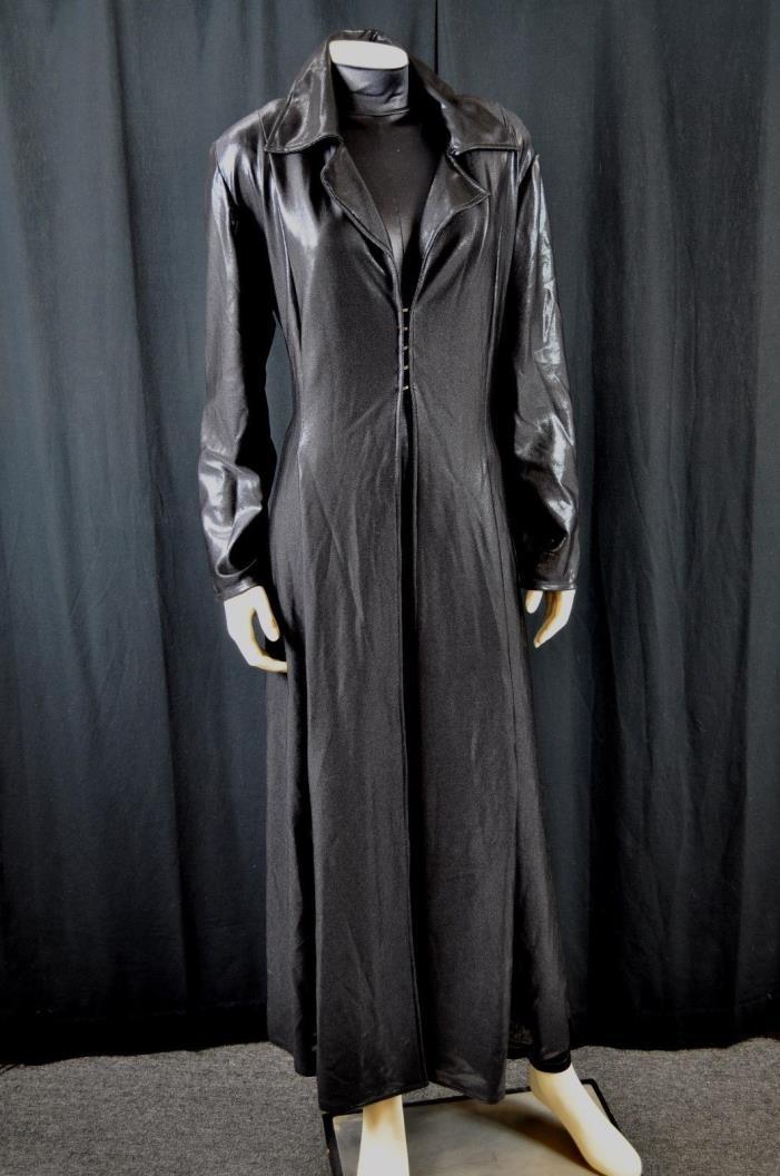 Shiny Black Spandex HOMESEWN Gothic Steampunk Van Helsing Matrix TRENCH Coat LG
