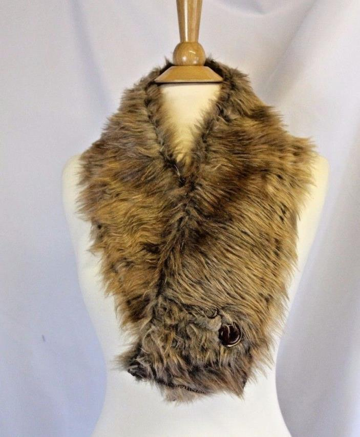 Tan Faux Fur Stole Brown Scarf Handmade with Vintage buttons