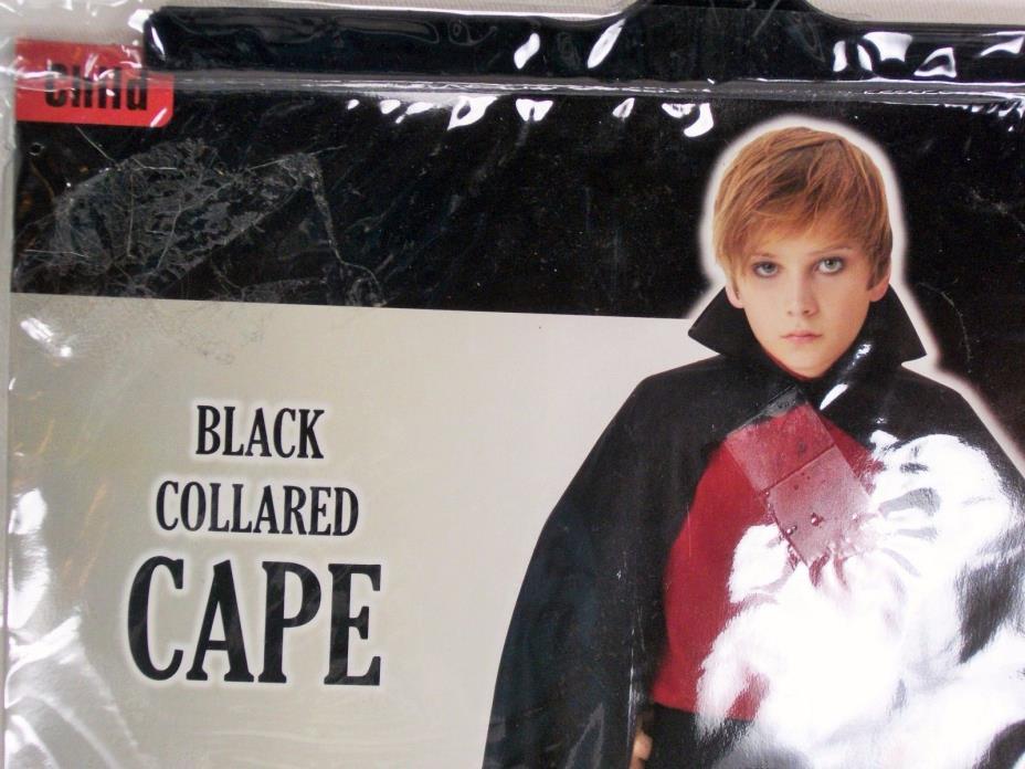 Halloween Costume:  Children's Black Collared Cape Size: Child 8+