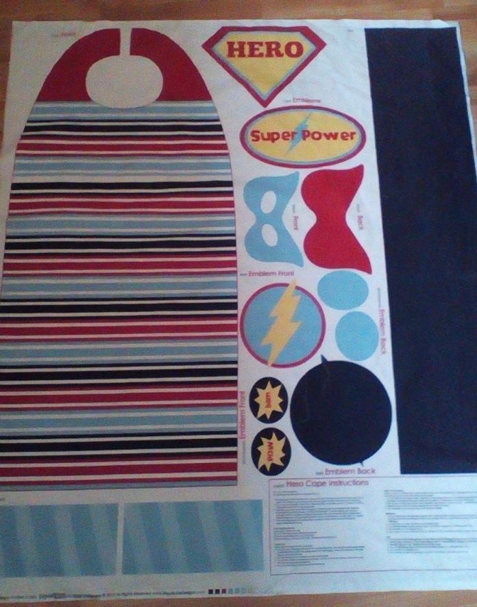Boys' Superhero crown, cape, belt sewing panel/Riley Blake design