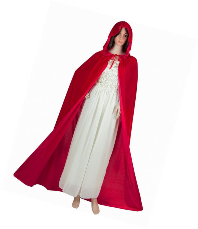 Acecharming Women's Velvet Cape with Hood Halloween Witch Costume Cloak