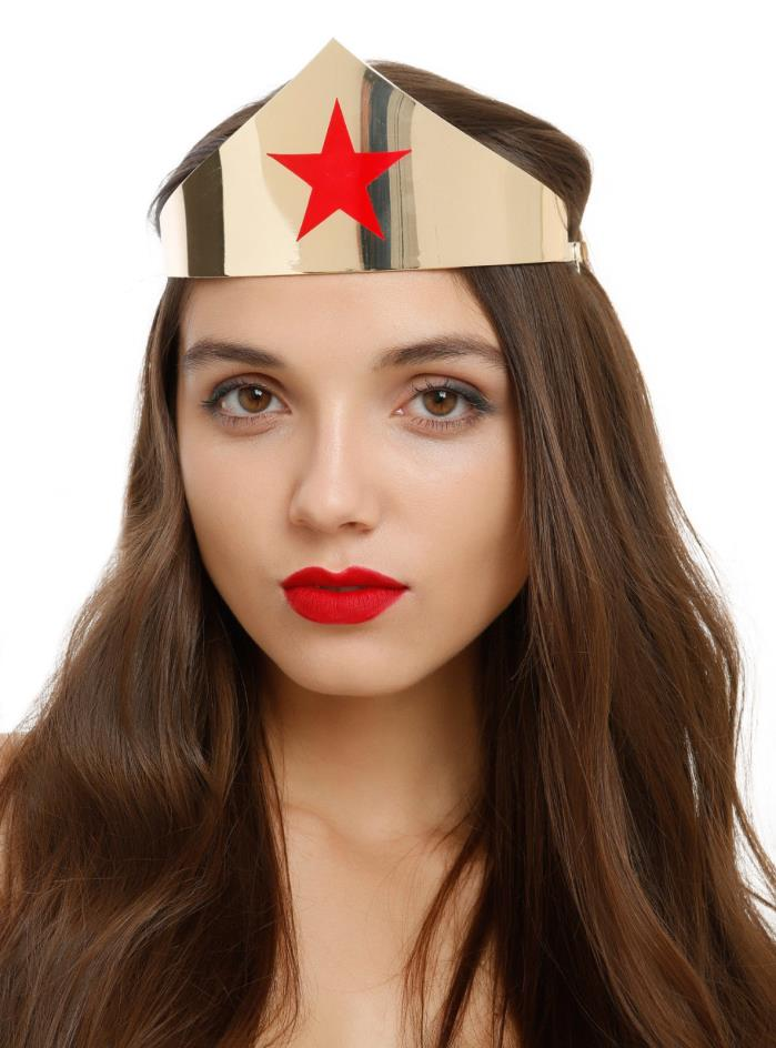 DC Comics WONDER WOMAN Movie Replica Tiara Crown Headpiece SHINY Gold Red Star