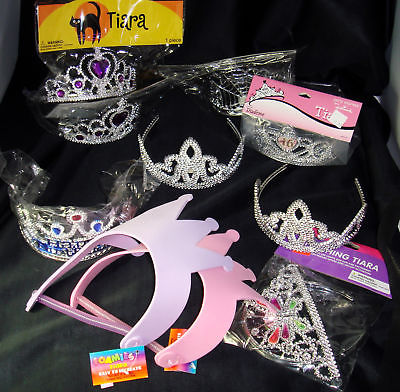 Bulk Lot 12 Plastic Tiara Crowns Child Girl Party Favor Craft Various Styles NEW