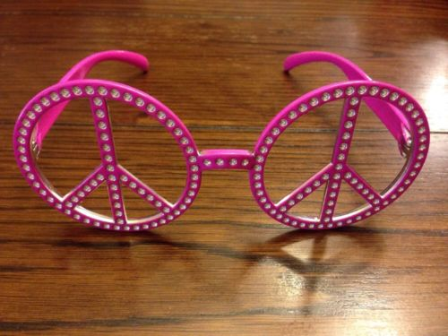 COSPLAY HIPPIE PINK PEACE SIGN EYEWEAR NO LENS GLASSES SUMMER BEACH POOL