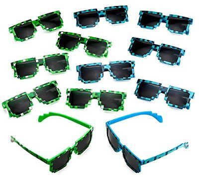 Katzco Pixel Sunglasses, Birthday Party Favors for Kid's and Adult's, 12 Piece