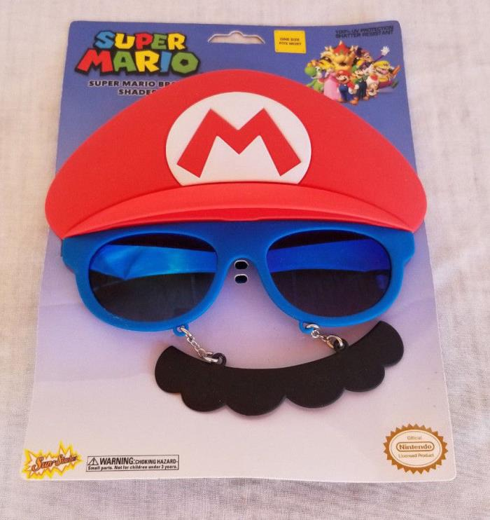 New Sun-Staches Super Mario Bros Mario Shades Sunglasses Glasses Mustache