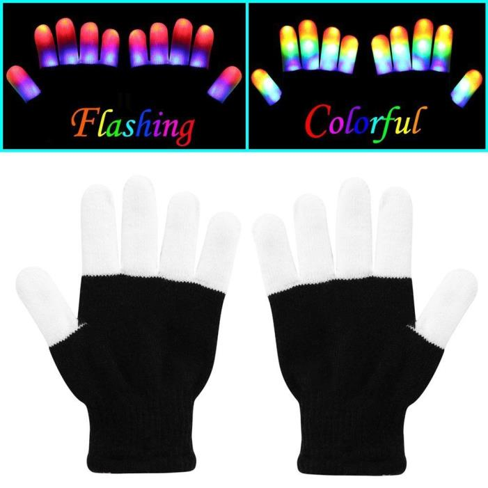Flashing Finger Lighting Gloves LED Colorful Rave Gloves 7 Colors Light Show