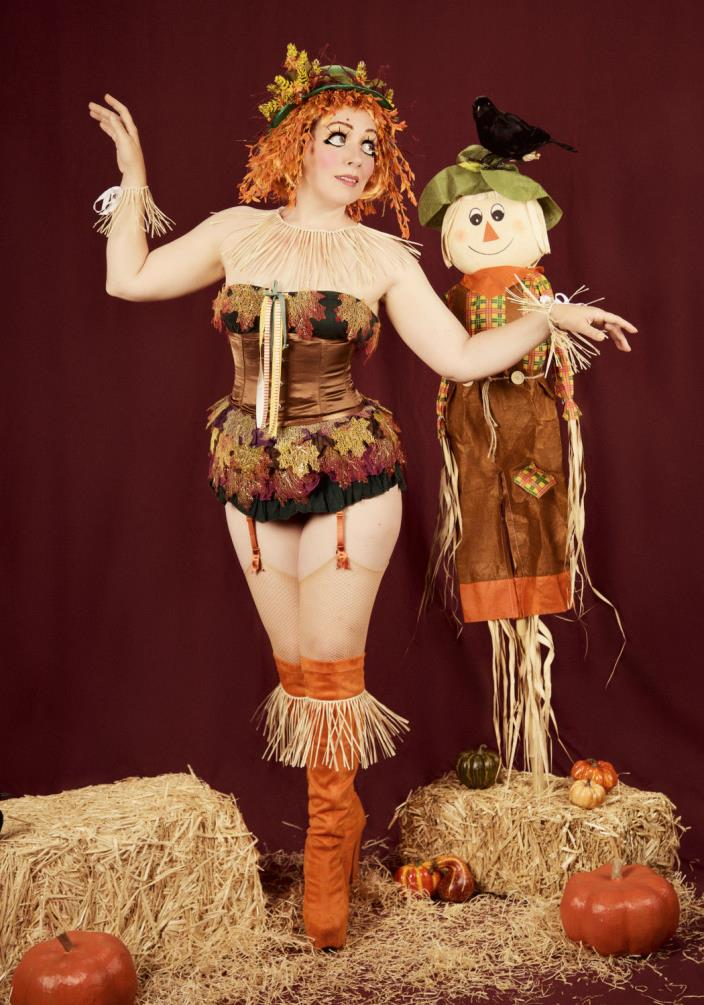 OOAK Green Felt Scarecrow Costume Bowler Hat Yellow Orange Burgundy Flowers